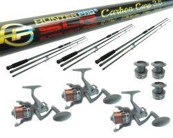 3 X 12ft Carbon Carp Rod & SLR60 Baitrunner Reel