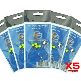 5 x Hunter Pro 2 Hook Flapper Rigs