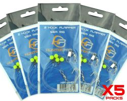 5 x Hunter Pro 2 Hook Flapper Rigs