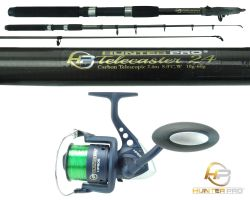 Hunter Pro® 8ft Carbon Fibre Telescopic Spinning Rod & HP60s Reel Overview 0