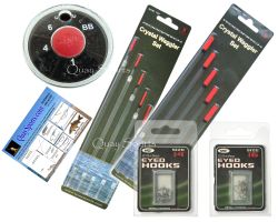 FISHING TACKLE SET RODDARCH® WAGGLER FISHING FLOATS DINSMORE SHOT & NGT HOOKS